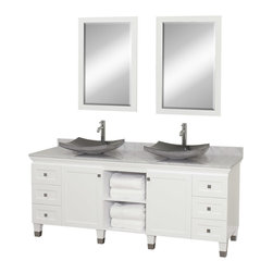 """Wyndham - Premiere 72"""" Double Bathroom Vanity Set - White - A bridge between traditional and modern design, and part of the Wyndham Collection Designer Series by Christopher Grubb, the Premiere Single Vanity is at home in almost every bathroom decor, blending the simple lines of modern design like vessel sinks and brushed chrome hardware with transitional elements like shaker doors, resulting in a timeless piece of bathroom furniture.; White Finish; Constructed of solid, environmentally friendly, low emissions wood, engineered to prevent warping and last a lifetime; Solid marble counter - White Carrera; Soft-close drawer glides; Soft-close doors; Black Granite Sink; Includes matching mirror; Pre-drilled for single hole faucet, but can be drilled on-site for three hole faucets; Dimensions: Vanity 72 x 22-1/2 x 36 (including sink); Mirror 24-1/4 x 36-1/4"""