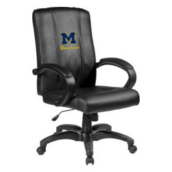 Dreamseat Inc. - University of Michigan NCAA Block M Home Office Chair - Check out this Awesome - it's one of the coolest things we've ever seen. Features a zip-in-zip-out logo panel embroidered with 70,000 stitches. Converts from a solid color to custom-logo furniture in seconds - perfect for a shared or multi-purpose room. Root for several teams? Simply swap the panels out when the seasons change. This is a true statement piece that is perfect for your Man Cave or Home Office, and it's a must-have for the person who wants to personalize their work space.