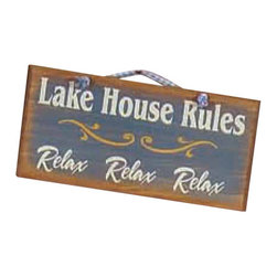 "Sleepy's Signs - Lake House Rules Distressed Wood 12"" Rustic Sign - Wood  Sign  -  Lake  House  Rules:  RELAX          Lake  House  Rules:  Relax,  Relax,  Relax  is  only  one  of  the  many  sayings  we  can  use  to  customize  your  vintage  wood  sign  with  rustic  blue  finish.  Handmade  here  in  the  USA,  this  simple  yet  vintage  looking  sign  is  just  the  right  size  for  setting  out  rules,  welcomes,  directions  or  just  humor.  Choose  from  our  lengthy  list  of  sayings  or  create  one  of  your  own  -  there's  no  extra  cost  for  making  a  truly  unique  rustic  sign  that's  just  right  for  you.                  Rustic  Wood  Sign              12  inches  wide  x  5.5  inches  high              Rope  Hanger              Made  in  USA              Allow  4-6  weeks  for  shipping"