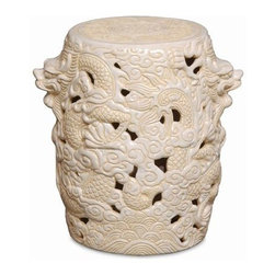 """The Ivory Company - Festive Dragon Garden Stool  Cream - Bring Eastern charm, balance and serenity into your home or garden.Our intricately designed garden stool comes alive with swirling waves, clouds and scaley serpents winding around the stool - a highly detailed dragon head emerges at each side. Can be used indoors and out as a casual seat, or side table. Sturdy ceramic design. Cream. Ceramic with a high-gloss finish.These exquisitely crafted pieces are a lovely way to accent your home. Inspired by different classic oriental styles these garden stools have become a modern day art form. These stools come in a large variety of styles and colors. We have selected ours for the distinctive design aesthetics they portray and the overall sense of scale and drama that they seem to convey. Enjoy these in and out of the house - they are wonderful accent pieces and go well with all types of decor.Measures 12x15""""H"""