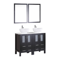 """Bosconi - 48"""" Bosconi AB224RO Double Vanity, Espresso - Explore a classically modern touch with this 48"""" espresso Bosconi double vanity set. The ceramic, round vessel sinks and vertically mounting mirrors lend to a smart and efficient design. Features include two spacious cabinets with soft closing doors, as well as, two large pull out drawers. Plenty of space to house your essential bathroom supplies."""