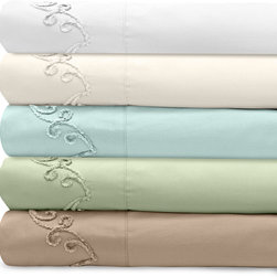 Veratex - Grand Luxe 300 Thread Count Egyptian Cotton Deep Pocket Sheet Set with Chenille - Relax in comfort with the luxurious 100-percent Egyptian cotton sateen deep pocket sheet set proudly made in the United States. This wonderful Grand Luxe collection features a gorgeous scroll chenille embroidered design on the flat sheet.