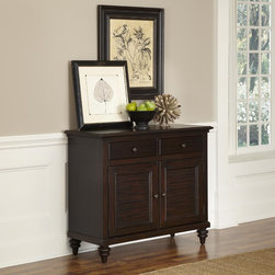 None - Bermuda Buffet - Inspired by the fusion of British colonial and old world tropical design,the Bermuda Buffet by Home Styles highlights mahogany solids,engineered wood,and veneers. Further inspiration can be found in the shutter style designed doors and the turned feet.