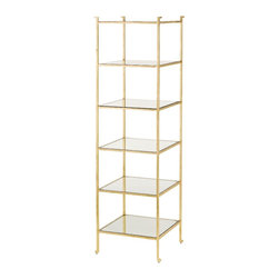 Currey and Company - Currey and Company Delano Narrow Etagere - The Delano Collection pays homage to decorator Billy Baldwin with tagres and occasional tables. With a gold leaf frame and glass shelves, the Delano tagre is an elegant place to display precious collections and books. Inspired by Mr. Baldwin?s Porter tagre, the Delano is classic and will always be au courant. Glass shelves compliment the gold leaf minimal frame. The solid bar frame is accentuated with an abstract detail in the foot.