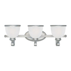"""Savoy House - Savoy House 8-5779-3-69 Three Light Up Lighting 25"""" Wide Bathroom Fixture - This popular striking series has cream marble glass with a classic metal banding, and the family expansion includes flush mounts, pendants, mini pendants and bath bars."""