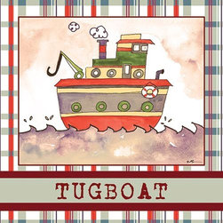 Oh How Cute Kids by Serena Bowman - Tugboat in Brown, Ready To Hang Canvas Kid's Wall Decor, 16 X 20 - Each kid is unique in his/her own way, so why shouldn't their wall decor be as well! With our extensive selection of canvas wall art for kids, from princesses to spaceships, from cowboys to traveling girls, we'll help you find that perfect piece for your special one.  Or you can fill the entire room with our imaginative art; every canvas is part of a coordinated series, an easy way to provide a complete and unified look for any room.