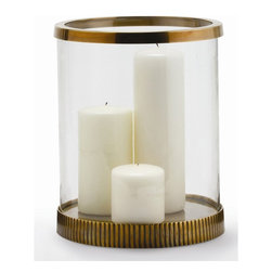 "Arteriors - Bogart Hurricane - You won't have to ""light it again,"" when this glass hurricane lantern sits on your outside table. It's large enough to comfortably hold an eight-inch diameter pillar candle or an assortment of smaller candles. The fluted base and smooth upper ring are solid brass so you'll enjoy its beauty for years to come."