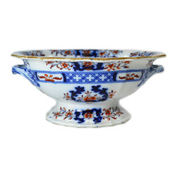 Lavish Shoestring - Consigned Blue Red and White Serving Bowl, Antique English, 19th Century - This is a vintage one-of-a-kind item.