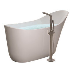 ADM - ADM White Stand Alone Solid Surface Stone Resin Bathtub, Matte - SW-112