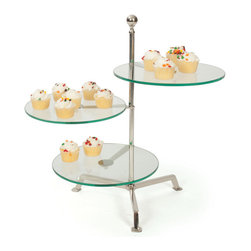 Go Home - Go Home Perfumerie Stand - Make an elaborately decorated presentation of cup cakes and muffins with the Perfumerie Stand. Gleaming with style, this justified tray features three flat glass panes positioned alternatively over nickel plated bars. The pedestal base of this Tuscan villa serve ware is adding an artistic touch that gives it a sophisticated look.
