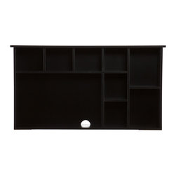 SEI - Torres Hutch - Black - Don't settle for a workspace that doesn't have offer adequate storage and a style you love. The ample space and simple lines of this hutch are sure to impress and de-stress. This hutch features an open computer area and eight shelf compartments. It offers a lovely painted black finish with a clean, modern design. The sleek finish and storage-focused design make this hutch a great choice for homes with transitional to modern decor. Add this hutch to your home office or bedroom for a workstation that really works.