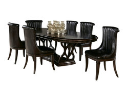American Drew - American Drew Bob Mackie 7 Piece Oval Dining Room Set in Dark Brown - Soft gentle shapes, unique patterns, a mixture of materials and elegant details all describe the unique elements that are synonymous with a Bob Mackie gown; and these motifs are evident in the Bob Mackie Home? Signature Collection by American Drew. The Signature collection is a fresh twist on classic designs. The inspiration and story is the creative use of materials and veneer work. The finish is a beautiful Rosewood color with veneer details in Primavera, Ebony, Walnut Burl, Mahogany and Cherry. Black Granite, Antiqued Mirror and Golden color accents add depth, drama and sparkle to this collection. Ribbon, lace, feather and starburst motifs add the 'dare to be noticed' flair to this group. Custom designed jewelry-like hardware, pierced brass collars and brass feet on selected items add a fine, finished look to each piece.