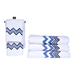 Anali - Chevron Roma Towel Set - These baby-soft, white cotton terry towels are embroidered with a bold blue chevron stripe pattern to jazz up your bathroom decor. The set includes a bath towel, hand towel, and washcloth, but if you want to stock your bathroom like a spa with matching bath sheets and guest towels, you can get those separately, too.