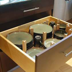 Have a kitchen like a resturant - Hafele's drawer peg system frees you to design the solution that meets your needs. Pick all the parts you need for deep drawers that hold pots and pans or drawers that store cutlery and untensils.