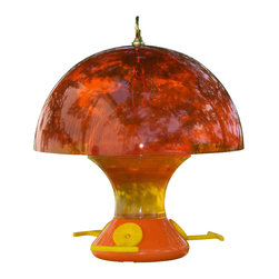 Songbird Essentials - Oriole Magnet 12 inch Baffle - Attracts orioles and keeps them cool at the same time! All orange color attracts nearby orioles and 12 inch diameter baffle blocks out sunlight which keeps the feeder underneath cooler. Shade also keeps nectar fresher so it lasts longer.
