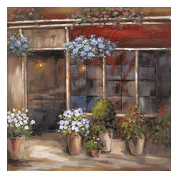 YOSEMITE HOME DECOR - Flower Shoppe - The various potted plants in shades of blue, white and red adorn the outside of this flower shop. This canvas makes the perfect addition to almost any room.