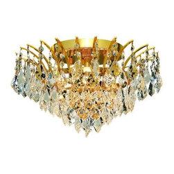 Elegant Lighting - Elegant Lighting 8033F16G Victoria 6-Light, Single-Tier Flush Mount Crystal Chan - Elegant Lighting 8033F16G Victoria 6-Light, Single-Tier Flush Mount Crystal Chandelier, Finished in Gold with Clear CrystalsElegant Lighting 8033F16G Features: