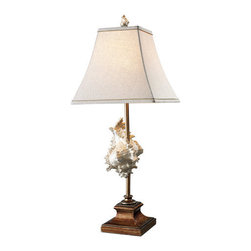 Dimond Lighting - Dimond Lighting D1979 Delray Single-Light Table Lamp in Conch Shell & Bronze - Features: