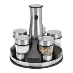Kalorik - Cordless Spice Mill Set, Stainless Steel - by Kalorik - Kalorik presents an easy and elegant way to serve freshly ground salt, pepper and 3 other fresh spices. Our stainless Rechargeable Mill sits in a sleek rotating power base to ensure it is always fully charged and ready to grind. Just click in the desired spice. Adjust for fine to coarse grinds, and light up food as its being seasoned for perfect results. Bon appetit!