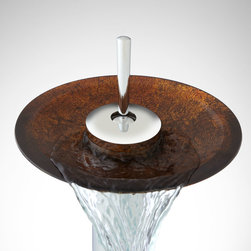 Ashyr Single-Hole Waterfall Faucet with Pop-Up Drain - Wonderfully designed with a joystick handle, the Ashyr Waterfall Single-Hole Vessel Faucet is encircled by a vibrantly painted and textured glass disk.