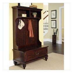 Home Styles - Home Styles Bermuda Hall Tree Stand in Espresso Finish - Home Styles - Hall Trees - 554249 - Inspired by the fusion of British traditional and old world tropical design the Bermuda Collection highlights rubber wood solids and veneers in a deep Espresso finish. Further inspiration can be found in the shutter doors and turned feet. The Bermuda Hall Stand by Home Styles provides abundant storage space with two shutter doors that open to storage compartment and two pigeon hole open storage areas at the top. It's completed with four decorative coat hooks and antique brass hardware.