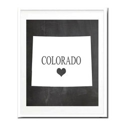 Kshoo Design - Colorado State Print, Frame Not Included, 11x14 - -Faux chalkboard background