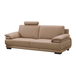 Beverly Hills Furniture Inc. - Rhythm Sofa with Headrest and Strict Curves - Modern Rhythm Sofa with Headrest and Strict Curves is a divine piece of rich quality leather and durable construction. This is made from premium thick top grain leather with matching vinyl on side and back and kiln dried solid wood frame for long lasting use. It also features reinforced corner blocks for added strength.