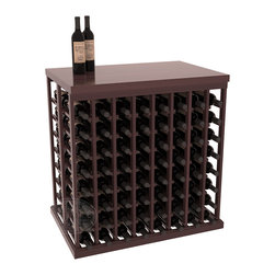 Double Deep Tasting Table Wine Rack Kit + Butcher Block Top in Redwood with Waln - The quintessential wine cellar island; this wooden wine rack is a perfect way to create discrete wine storage in open floor space. Includes a culinary grade Butcher's Block top. With an emphasis on customization, install LEDs to create an intimate wine tasting setting. We build this rack to our industry leading standards and your satisfaction is guaranteed.