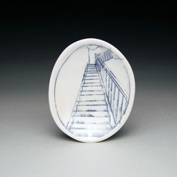 Tiny Oval - Nicole Aquillano makes handmade porcelain tableware with hand-inlaid drawings.  This Tiny Oval measures 4.5 x 3.75 x 0.5 inches with a hand-inlaid drawing of a staircase.