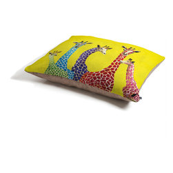 Clara Nilles Jellybean Giraffes Dog Bed - Perfect for dogs, cats,heck, even a pig! With our cozy pet bed made of a fleece top and waterproof duck bottom, you're bound to have one happy animal catching some zzzz's in ultimate comfort.