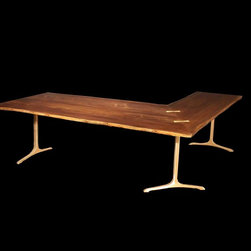 "Custom ""L"" Desk with Solid Bronze Bases and Butterfly Inlays - A beautiful L Shaped Desk with Book Matched Black Walnut Slab Top and 3 Sculpted T Bases in Solid Cast Bronze."