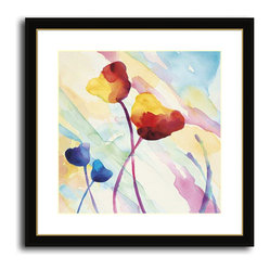 MonDeDe - Tilt Tulips I - Softly rendered tulips have a dreamy, tranquil vibe. Printed on archival quality paper and set in a hand-assembled wood frame, its the perfect artwork to bring a splash of color to your decor.