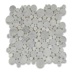 "Stone Center Corp - Carrara Marble Bubble Round Mosaic Tile Honed - Premium Carrara white marble random round pieces mounted on 12"" x 12"" sturdy mesh tile sheet"