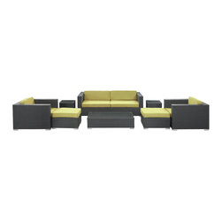 Modway Furniture - Modway Venice 8 Piece Sofa Set in Espresso Peridot - 8 Piece Sofa Set in Espresso Peridot belongs to Venice Collection by Modway Let serenity penetrate your being and distractions fade away with this modern outdoor set. Sit leisurely as an unwavering inner joy rises to the surface and a firm message of relaxation and harmony take hold. Dynamic lines help infuse your special gatherings with perfect measures of energy and calm as your respite turns waves of activity into serenity. Set Includes: One - Venice Outdoor Wicker Patio Coffee Table One - Venice Outdoor Wicker Patio Sofa Two - Venice Outdoor Wicker Patio Armchairs Two - Venice Outdoor Wicker Patio Ottomans Two - Venice Outdoor Wicker Patio Side Tables Coffee Table (1) , Sofa (1), Armchair (2), Ottoman (2), Side Table (2)