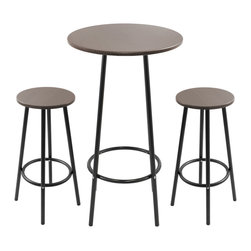 Lumisource - Zella Bar Table Set Espresso - This three-piece set includes a bar table and two bar stools with sturdy metal legs and footrests. The medium-density fiberboard wood tops make it perfect for entertaining as well as everyday use.