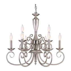 Savoy House - Spirit 9-Light Chandelier - With it's abundant curls and smooth, clean classic lines the Spirit collection is definitely and eye pleaser. The pewter finish and pewter candle covers finish off the collection with a classic yet stylish look.