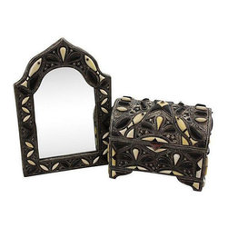 Handmade Moroccan Mirror & Chest with Bone Inlay - Dimensions 10.0ʺW × 10.0ʺD × 15.0ʺH
