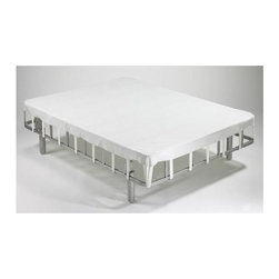 """Forever Foundations - Forever Foundation Mattress Support System (Queen) - Choose Size: Queen. With its all steel construction, this mattress support system is the strongest you'll find. The affordable system also makes your mattress last longer because of its excellent support. So spend more wisely buying only the mattress and use this foundation with optional components instead. Includes headboard brackets and a fabric flex deck. Footboard bracket in picture not included. All steel construction - the world's strongest foundation. Can be used with any of today's most popular mattresses. The solid, all steel construction adds to the performance and durability of your mattress. No need to buy the mattress set as sold for years with its poorly constructed foundation. Works with any headboard or footboard. Naturally bug or mite-free forever cover can be dry cleaned. Classic Silver powder coated finish. Assembly required. Lifetime warranty. Twin: 74 in. L x 37.5 in. W x 16 in. H (52 lbs.). Full: 74 in. L x 52.5 in. W. 16 in. H (60 lbs.). Queen: 79 in. L x 59.5 in. W x 16 in. H (70 lbs.). Eastern King: 79 in. L x 76 in. W x 16 in. H (87 lbs.). California King: 83 in. L x 71 in. W x 16 in. H (86 lbs.). Weight capacity: 2500 lbs.The Forever Foundation is an all steel mattress foundation that replaces the old conventional box spring or outdated foundation that is part of the """"mattress set."""" Now you can have a foundation that is worthy of your mattress and that will enhance its ability to provide you with the best nights sleep imaginable. The Forever Foundation provides you with a mattress surface that is firm, adding to the performance and durability of your mattress. Plus, it can be used with any of today's most popular mattresses memory foam, latex, spring, pocketed coil, etc. It is extremely easy to assemble, requires no center support, can be fitted with any headboard and footboard, and features a naturally bug and mite-free FOREVER cover which can be dry cleaned. Forev"""