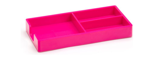 Poppin - Bits and Bobs Tray, Pink - When it comes to clutter, little things mean a lot. Get them squared away in high style with this three-compartment organizing tray for your desk, vanity or drawer. It measures 9 by 6 3/4 by 3 1/4 inches, is finished in your choice of eye-popping colors in a lacquer-like finish and coordinates with other accessories in the same line.