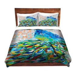 DiaNoche Designs - Duvet Cover Microfiber - Luminous Peacock II - DiaNoche Designs works with artists from around the world to bring unique, artistic products to decorate all aspects of your home.  Super lightweight and extremely soft Premium Microfiber Duvet Cover (only) in sizes Twin, Queen, King.  Shams NOT included.  This duvet is designed to wash upon arrival for maximum softness.   Each duvet starts by looming the fabric and cutting to the size ordered.  The Image is printed and your Duvet Cover is meticulously sewn together with ties in each corner and a hidden zip closure.  All in the USA!!  Poly microfiber top and underside.  Dye Sublimation printing permanently adheres the ink to the material for long life and durability.  Machine Washable cold with light detergent and dry on low.  Product may vary slightly from image.  Shams not included.