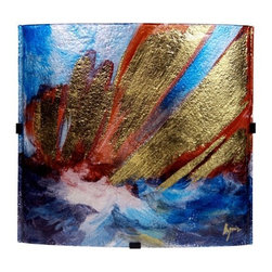 "Jasmine Art Glass - 17In Square Platter 20610 - 17"" Sq Wall Art or platter, featuring cloudy blues and white, mixed with red and some metallic gold hand-painting detail strokes"