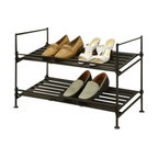 Organize It All - Ebonize Two Tier Shoe Rack - Our Ebonize 2 Tier Shoe Rack features a rail that prevent shoes from falling through or over on each other! Use these racks in your closets to organize that unruly pile of shoes living at the bottom or for taking your shoes out from that shelf in your closet. This shoe racks is also great for dressing rooms, mud rooms and all the entry areas of your home.