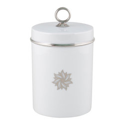 Maison Alma - Fig Signature Scented Candle, White & Platinum - The serenely elegant porcelain container is just the beginning. The best part is inside: an enchanting aroma of green fig blended with hints of vanilla, cedar and tonka bean, infused into a long-burning candle. You get 60 hours of exquisite atmosphere inside that little container. The lid helps preserve it for special moments.