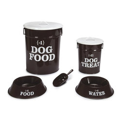 Pet Studio No. 1 Dog Dining Collection - I just ordered an adorable dog ID tag from this site and was impressed with their whole selection of pet products. This dining collection includes all the items shown and comes in black and white (shown) or white and red.