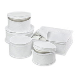 Honey-Can-Do Int. - 5 Piece Dinnerware Storage Set - 5-Piece Dinnerware Storage Set White. Safely store fine china and special occasion dishes with this complete dinnerware storage set. The quilted cloth fabric includes zippered protection for saucer plates desert plates salad plates dinner plates and cups. The cup storage case features chipboard dividers for added protection. Makes a great housewarming or bridal gift. Features:   stores complete services  cushioned quilted cases  smooth glide zippersDimensions: 6.75 in L x 6.75 in W x 4.5 in H