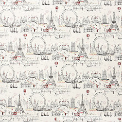Anthropologie - C'est Magnifique Wallpaper - Francophiles rejoice! The charming sketches of Paris tourist attractions on this fun wallpaper makes one yearn for a ride on The Wheel of Excellence or a trip down the Seine.