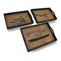 Zeckos - Set of 3 Vintage Style Travel Themed Decorative Nesting Trays - This set of 3 trays adds a decorative accent to any table or desk in your home or office. They are made of wood and have a printed liner featuring vintage travel posters. The largest tray measures 19 inches (48 cm) long, 13 inches (33 cm) wide, 1.5 inches (4 cm) deep, the middle one is 17.5 inches (44 cm) long, 11.5 inches (29 cm) wide, 1.5 inches (4 cm) deep, and the smallest tray measures 15.75 inches (40 cm) long, 10 inches (25 cm) wide, 1.5 inches (4 cm) deep. Use them to display groups of small items, to sort mail, or to serve snacks.