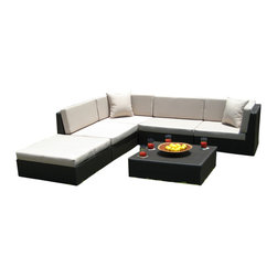 MangoHome - Outdoor Patio Wicker Furniture Sofa Sectional 6pc Couch Set - Outdoor Patio Wicker Furniture Sofa Sectional 6pc Couch Set