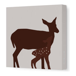 "Avalisa - Animal - Doe Stretched Wall Art, 18"" x 18"", Brown - Here's a sweet print for your little deer — or for yourself. It comes in your choice of color combinations and sizes. With this kind of color and fun on your walls, your friends are sure to fawn."