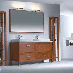 """Tazzo Modern Bathroom Vanity Set 63"""" - The Tazzo is a contemporary bathroom double sink vanity set that embraces the latest trend in luxury modern bathroom design by choosing to incorporate sophisticated designs and shapes into every bathroom."""